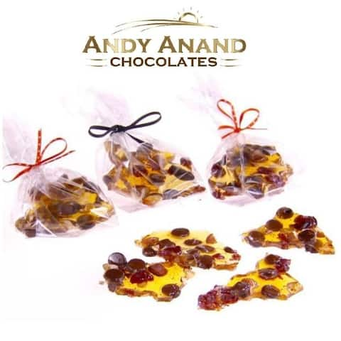 Andy Anand Handmade Walnut Cherry Brittle Gift Boxed & Greeting Card 1 lbs