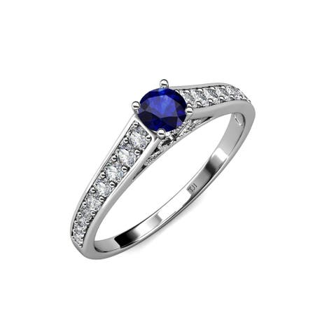 TriJewels Blue Sapphire and Diamond 3/4 ctw Promise Ring 14KW Gold