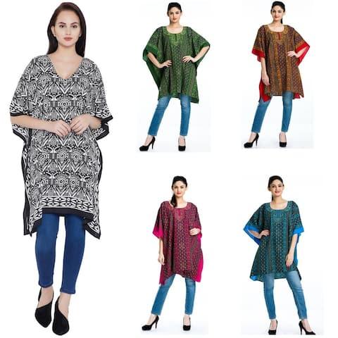 Women Boho Kaftan Tunic Plus Size Ladies Tops Long Sleeves Beach Cover Up