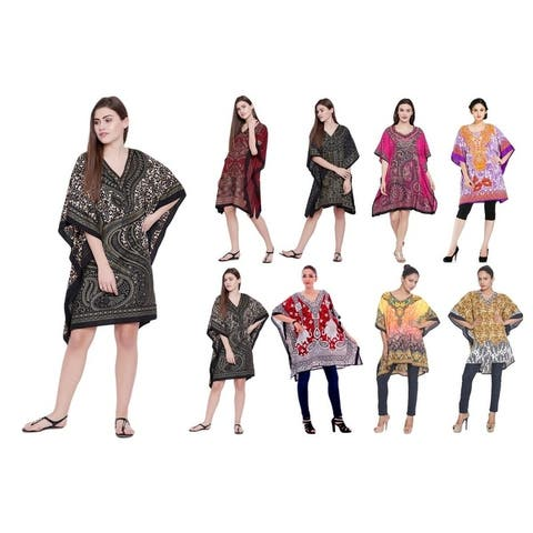 Women Kimono Ethnic Paisley Style Tunic Caftan Dress Elegant Resort Wear Beach Cover Up