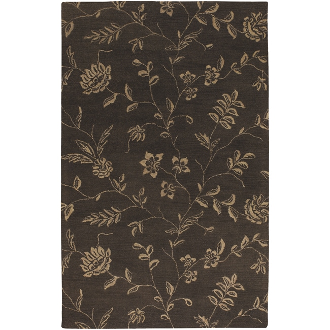 Artist's Loom Hand-tufted Transitional Floral Wool Rug - 5' x 8'