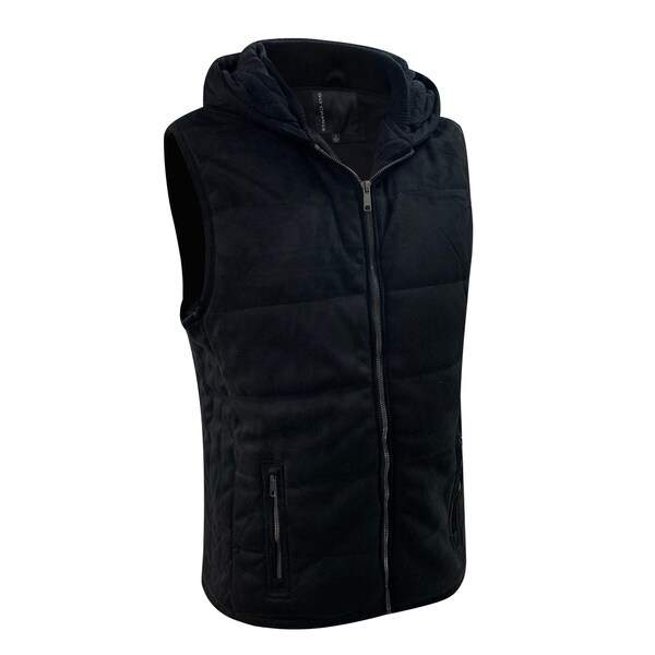 Mens Lightweight Front Zip Hooded Suede Vest Slim Fit Small Black
