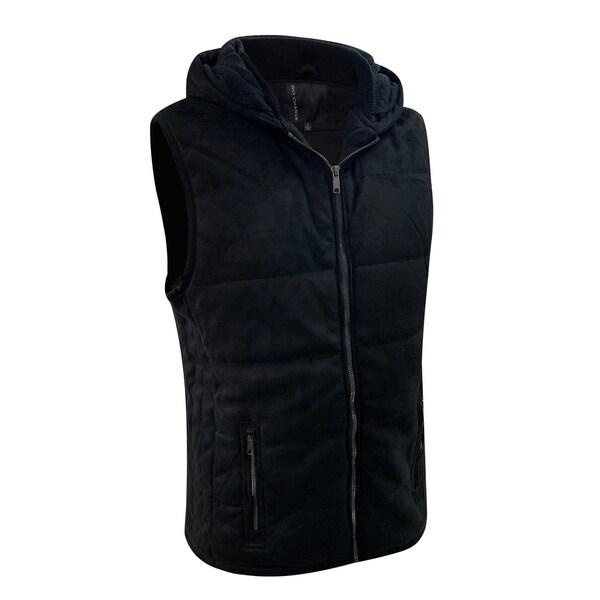 Mens Lightweight Front Zip Hooded Suede Vest Slim Fit Large Black