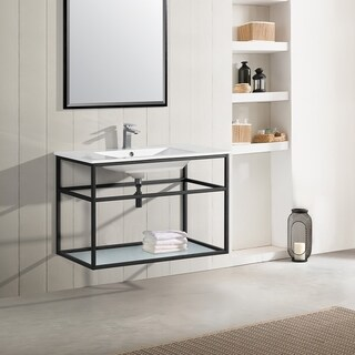 "Swiss Madison SM-BV553 Pierre 36"" Single, Metal Frame, Open Shelf, Bathroom Vanity"