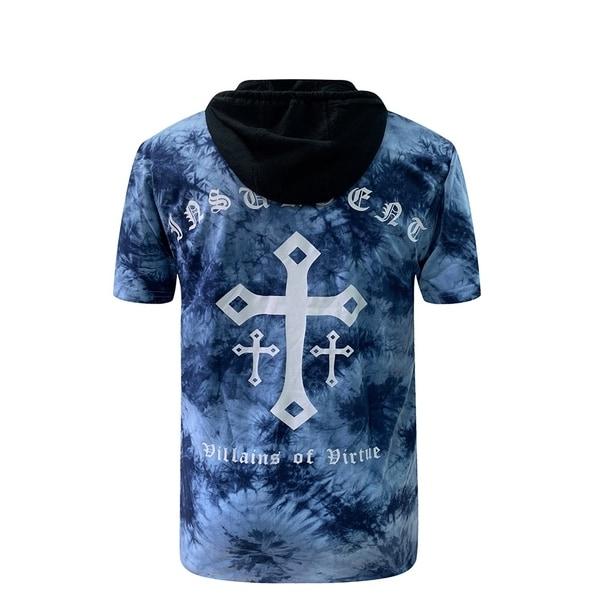 Villians of Virtue Hooded Tie-Dye Tee for Men Cotton T-Shirt Short Sleeve Medium Blue