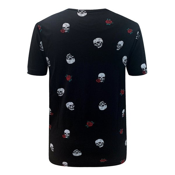 Villians of Virtue Skull & Roses All Over Print Tee for Men Athletic Cotton T-Shirt Short Sleeve Small Black