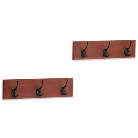 Americanflat Wall Mounted Coat Hooks - 3 Hooks per Rack, Set of 2 - Mahogany and Black