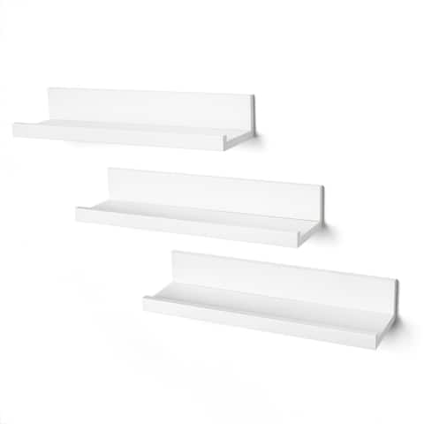 Americanflat White Set of Three 14 Inch Floating Wall Shelves