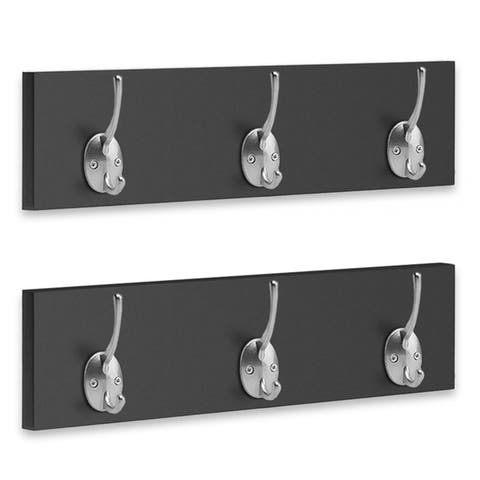 Americanflat Wall Mounted Coat Rack - 3 Hooks per Rack, Set of 2