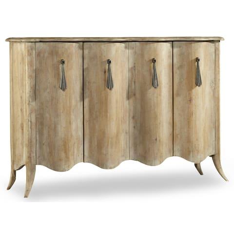 Light Wood Adjustable Shelf Credenza Cabinet