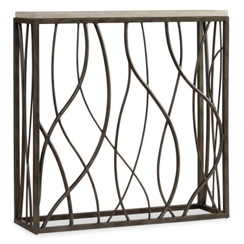 Metal and Marble Thin Console Table