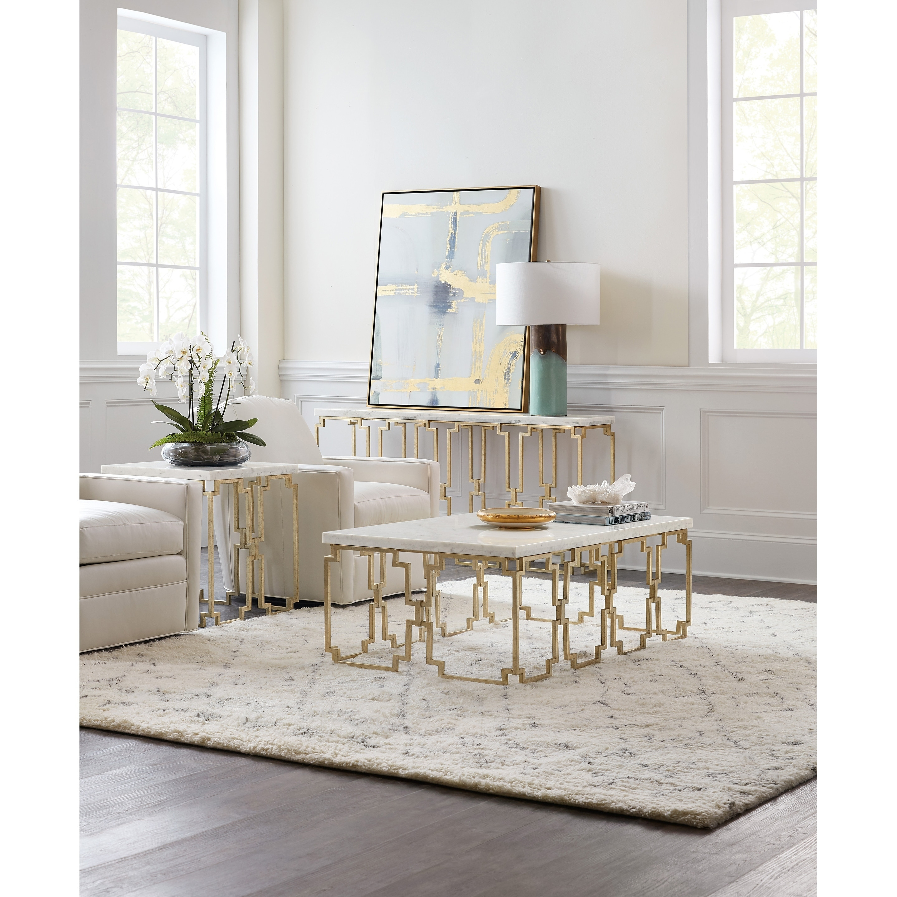 Gold And Kalala White Console Table On Sale Overstock 30434120