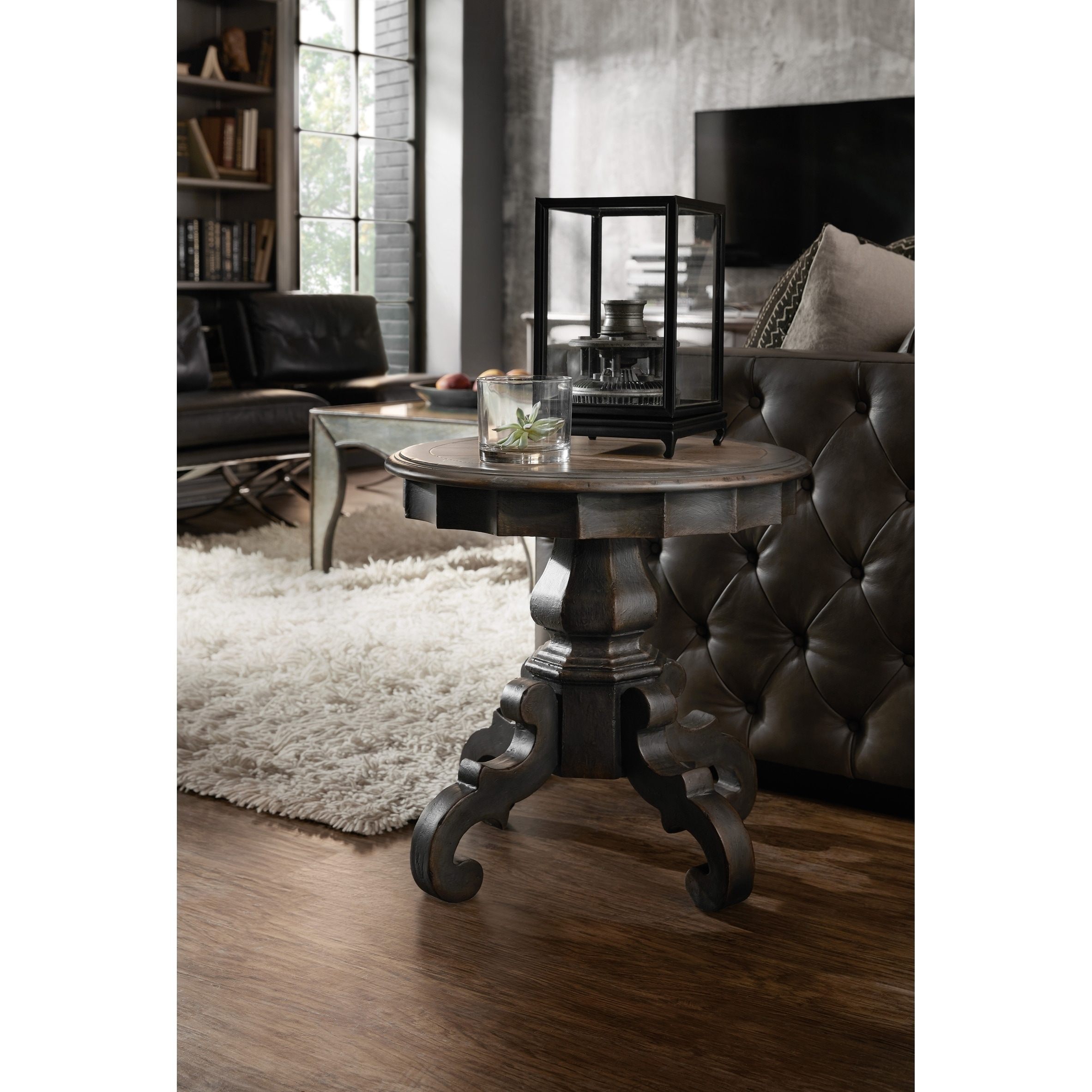 - Shop Heavily Painted Charcoal Pedestal Accent Table - On Sale