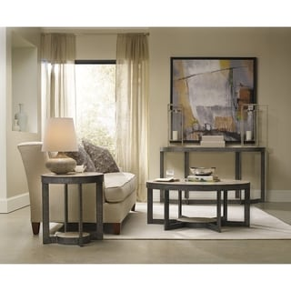 Grey Round Travertine Marble and Metal End Table