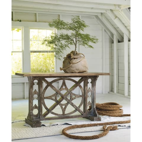 Medium Wood Old-world Compass Console Table