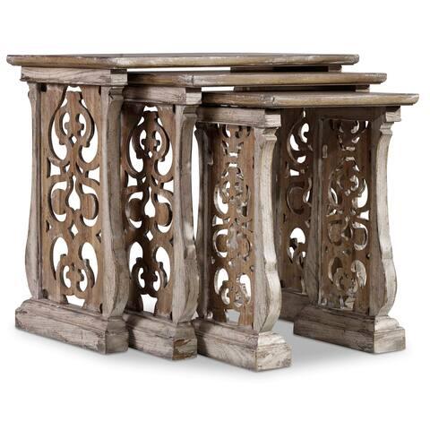 Distressed Vintage White 3 pieces Nest Tables