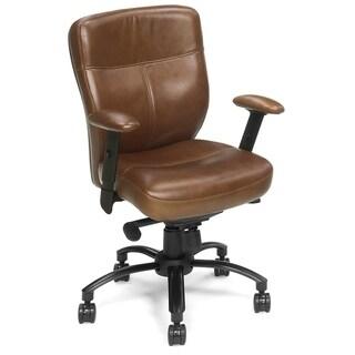 Brown Leather Swivel Tilt Chair