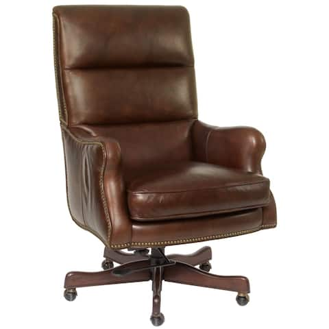 Brown Leather Nailhead Executive Chair