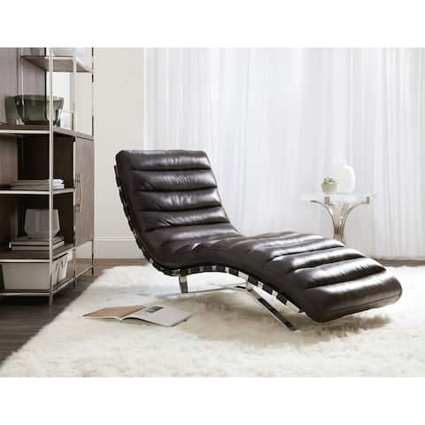 Leather and Chrome Metal Stationary Chaise