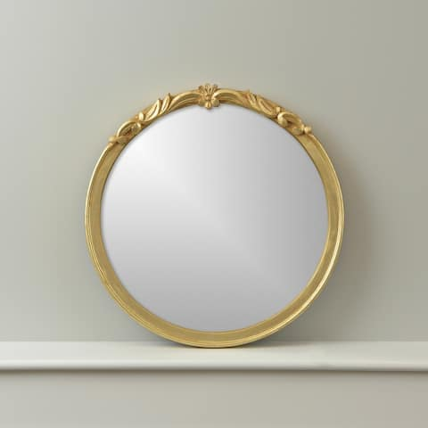 Gracewood Hollow Barber Round Wall Mirror with Ornate Goldtone Frame