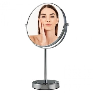 Ovente Tabletop Magnified Vanity Makeup Mirror 360 Degree Safe Rotation and Distortion Free (MNLMT80CH) - Chrome