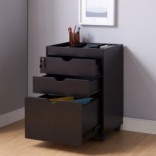 Furniture of America Vintess Contemporary Mobile Locking File Cabinet