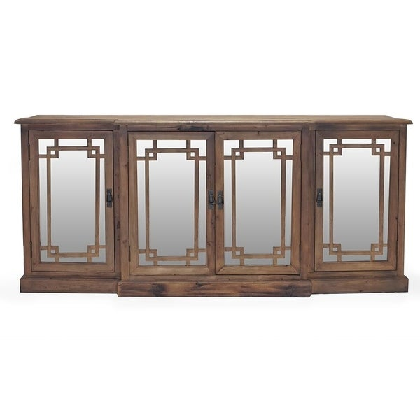 Beverly Hills Reclaimed Knotted Pine Mirrored Buffet