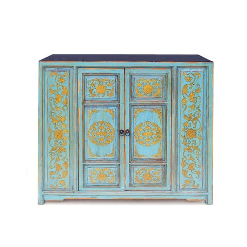 Venetian Gold and Teal Hand Painted Buffet