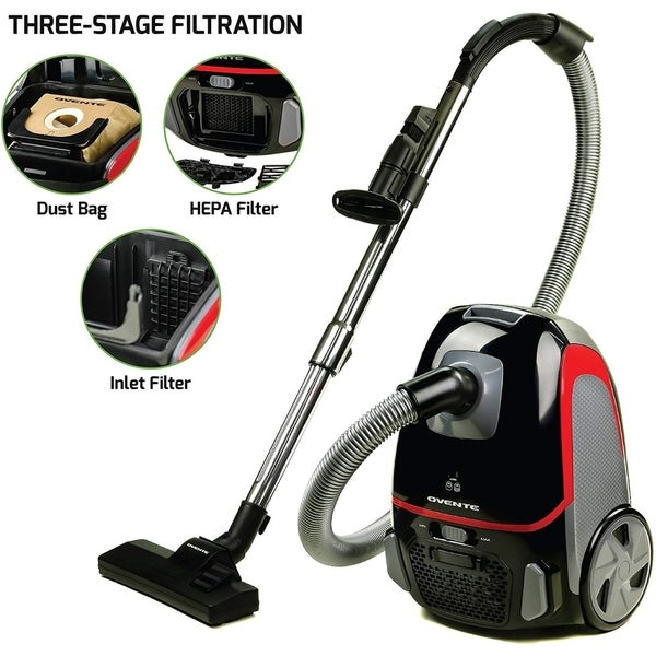 Ovente Bagless Canister Vacuum Cleaner 1400 Watts with Dustbag 4 pieces and Filter (ST1600 Series)
