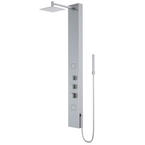55-in Kingsley Stainless Steel 2-Spray Massage Jet Shower Panel System