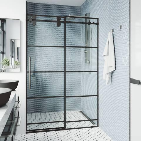 VIGO 68-72-inch Grid Elan Adjustable Sliding Shower Door in Matte Black