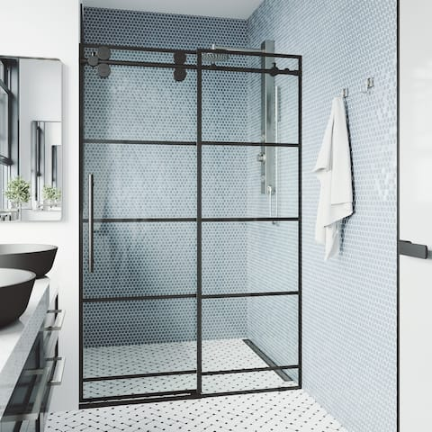 VIGO 60-64-inch Grid Elan Adjustable Sliding Shower Door in Matte Black