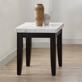 Fairfax White Marble End Table by Greyson Living