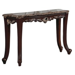 Best Master Furniture Walnut with Marble Top Sofa Table