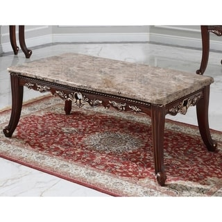 Best Master Furniture Walnut with Marble Top Coffee Table