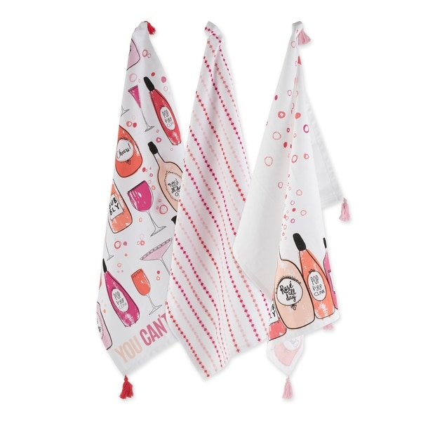 """DII Pop Fizz Home Collection, 18x28"""", Rose All Day, 3 Pieces"""