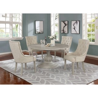 Best Quality Furniture 5-Piece Dining Set with Linen Fabric Chairs