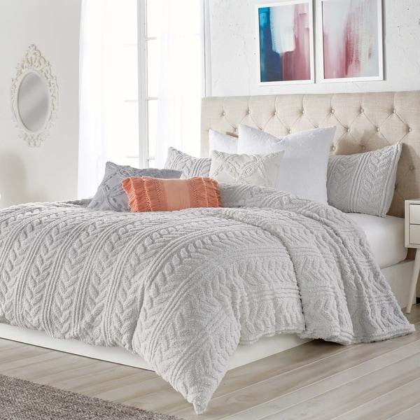 Porch & Den Scoggins Pinsonic Braid/Stripe Sherpa 3-piece Comforter Set (As Is Item). Opens flyout.