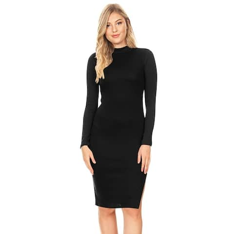Women's Solid Color Mock Neck Ribbed Midi Dress