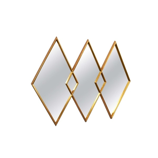 Minimalist mirror with gold metal frame.