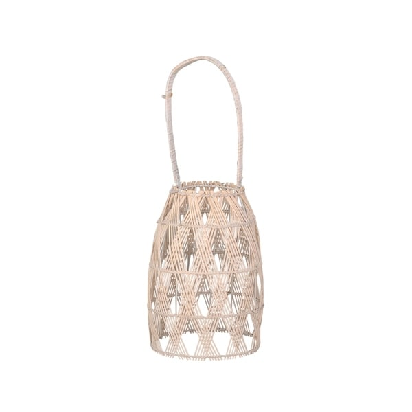 Woven Bamboo Wall Hanging Lantern with X Shaped Binding, Large, Beige