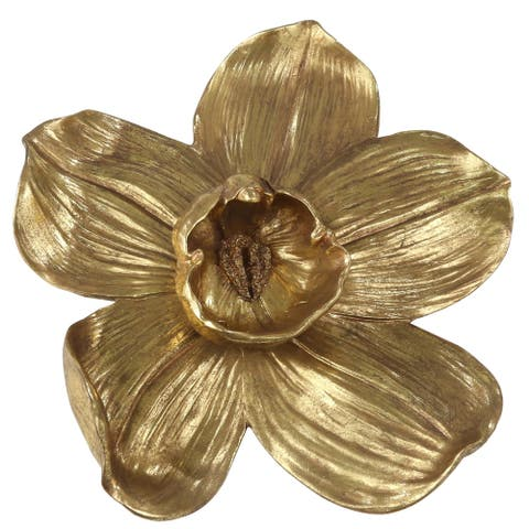 Polyresin Orchid Wall Hanging Decor with Prominent Anther, Small, Gold