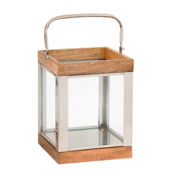 Wood and Metal Lantern with Glass Panel Inserts, Small,Brown and Clear