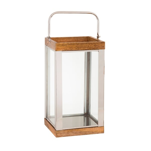 Wood and Metal Lantern with Glass Panel Inserts, Large,Brown and Clear
