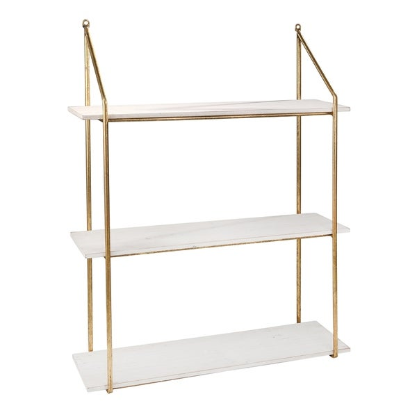 Contemporary Wood and Metal 3 Tier Wall Shelf, White and Gold