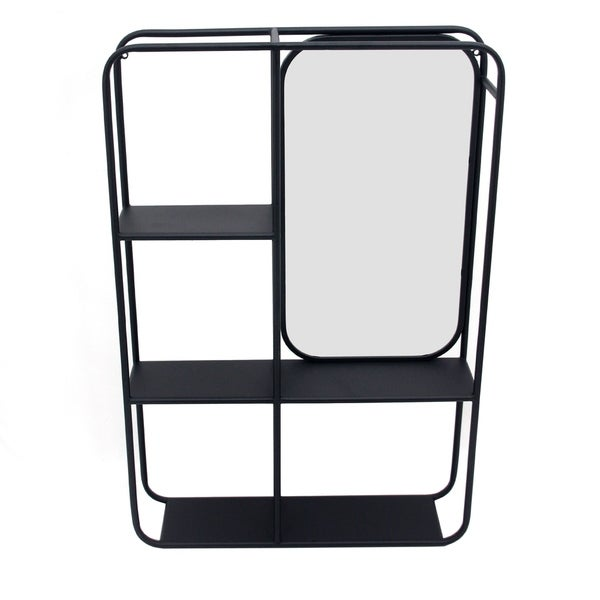 Transitional Vertical Metal Wall Shelf with Mirror, Black and Silver