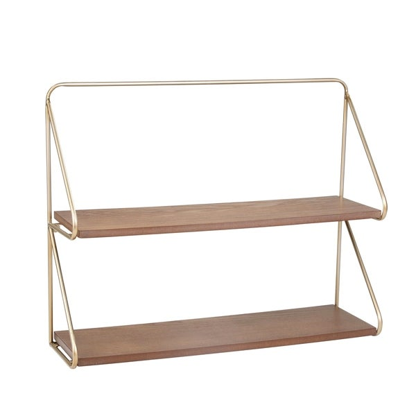 Contemporary Wood and Metal Ornate 2 Tier Wall Shelf, Brown and Gold