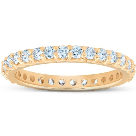 Pompeii3 14k Yellow Gold 1Ct TDW Diamond Eternity Wedding Ring Lab Grown (G-H/VS1-VS2)