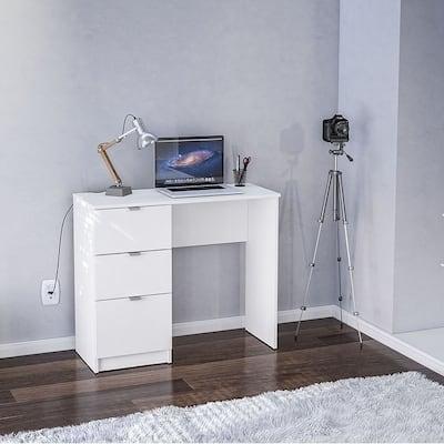 Porch & Den Spindler White 3-drawer Writing Desk