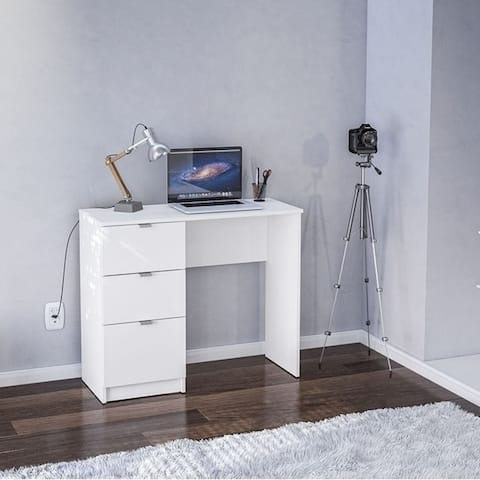 Porch & Den Spindler White 3-drawer Writing Desk